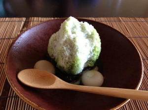 This syrup is a maccha green tea flavor.  The combination of shaved ice and chewy rice dumplings is nice.